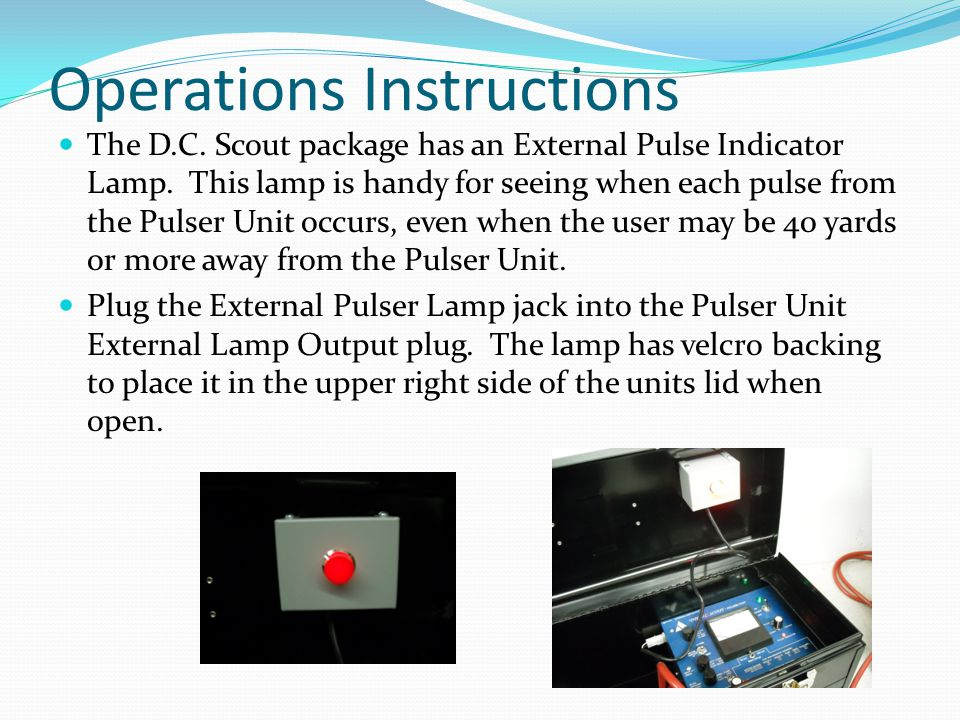 Operations Instructions