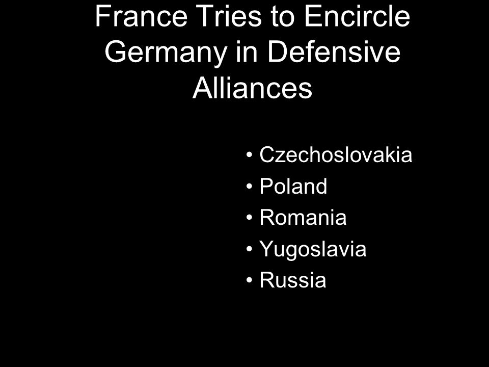 France Tries to Encircle Germany in Defensive Alliances