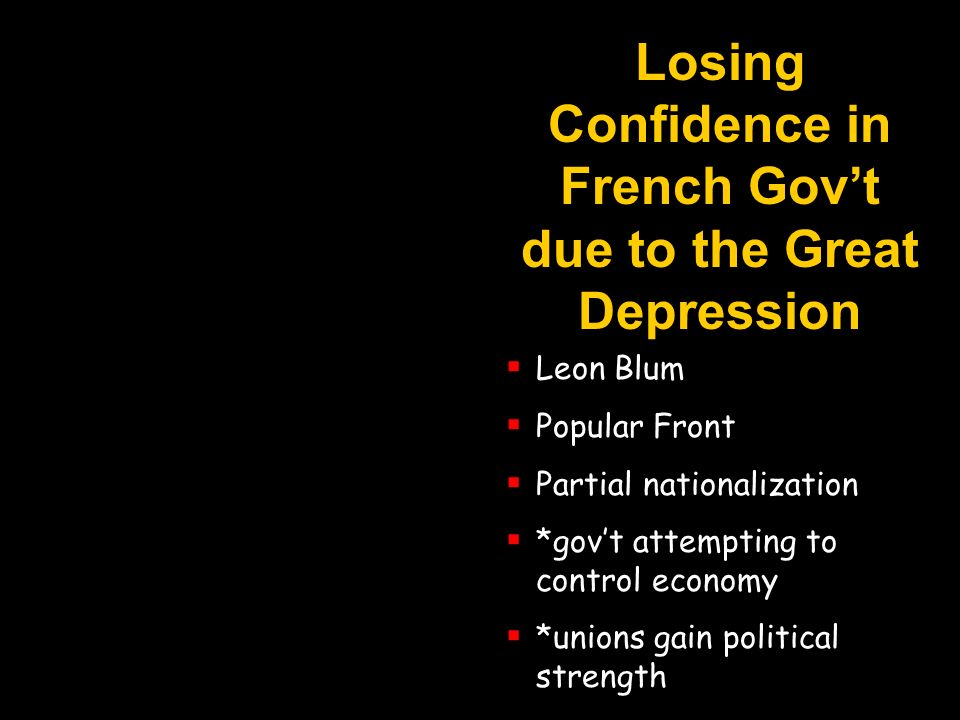 Losing Confidence in French Gov't due to the Great Depression