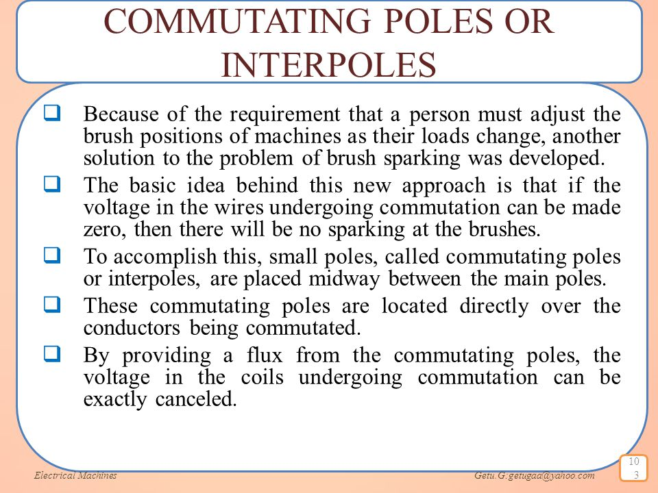 COMMUTATING POLES OR INTERPOLES