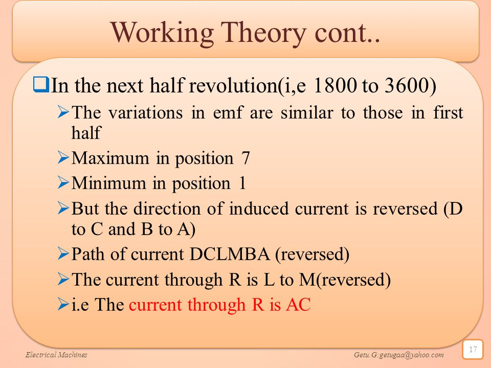 Working Theory cont.. In the next half revolution(i,e 1800 to 3600)