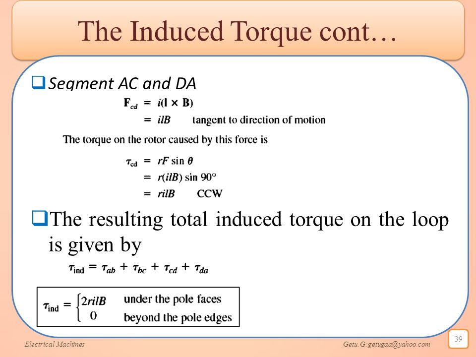 The Induced Torque cont…