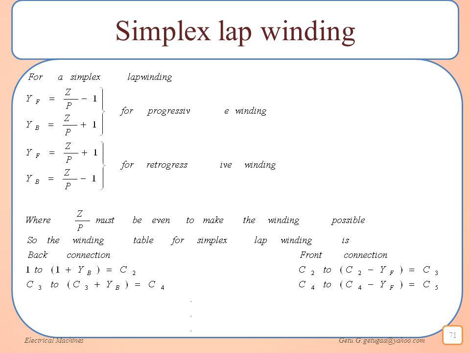 Simplex lap winding