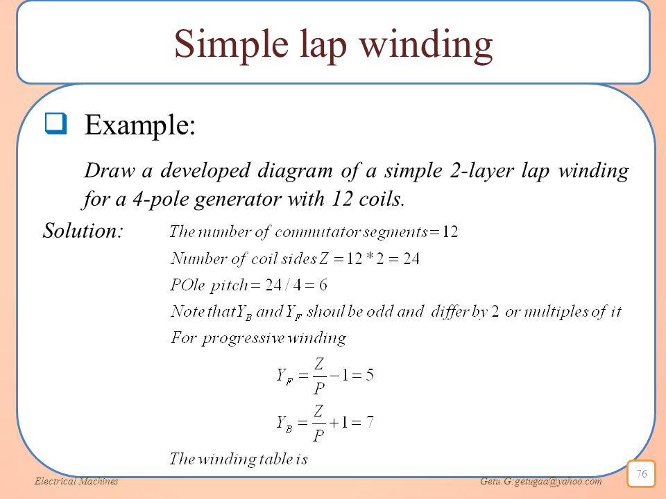 Simple lap winding Example:
