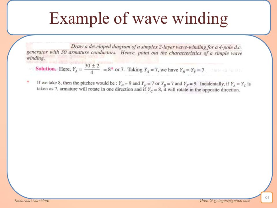 Example of wave winding