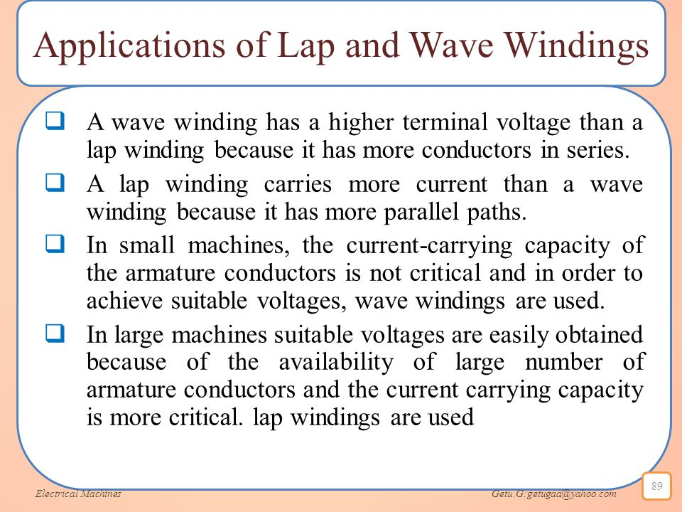 Applications of Lap and Wave Windings