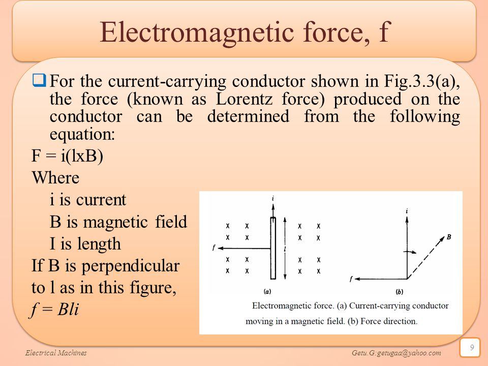 Electromagnetic force, f