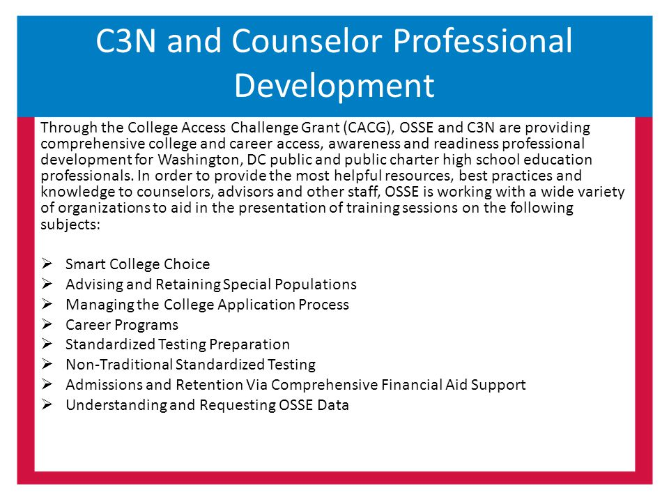 C3N and Counselor Professional Development