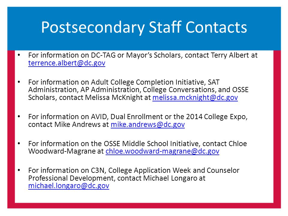 Postsecondary Staff Contacts