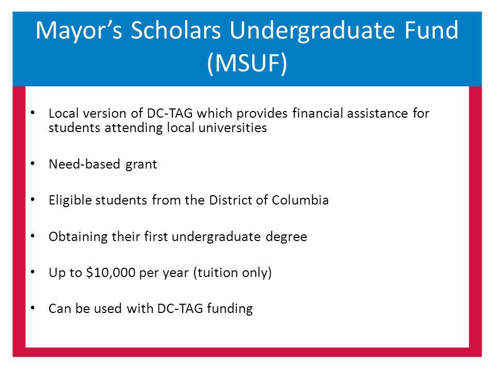 Mayor's Scholars Undergraduate Fund (MSUF)