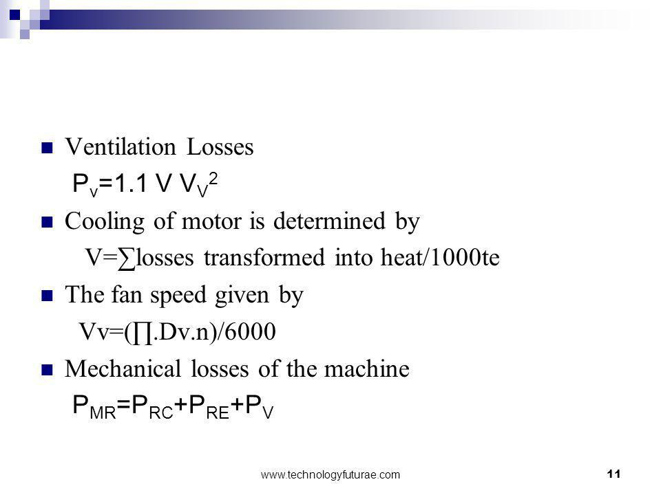 Cooling of motor is determined by