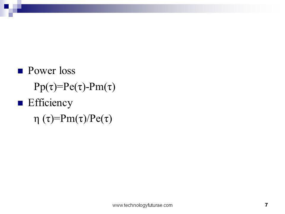 Power loss Pp(τ)=Pe(τ)-Pm(τ) Efficiency η (τ)=Pm(τ)/Pe(τ)