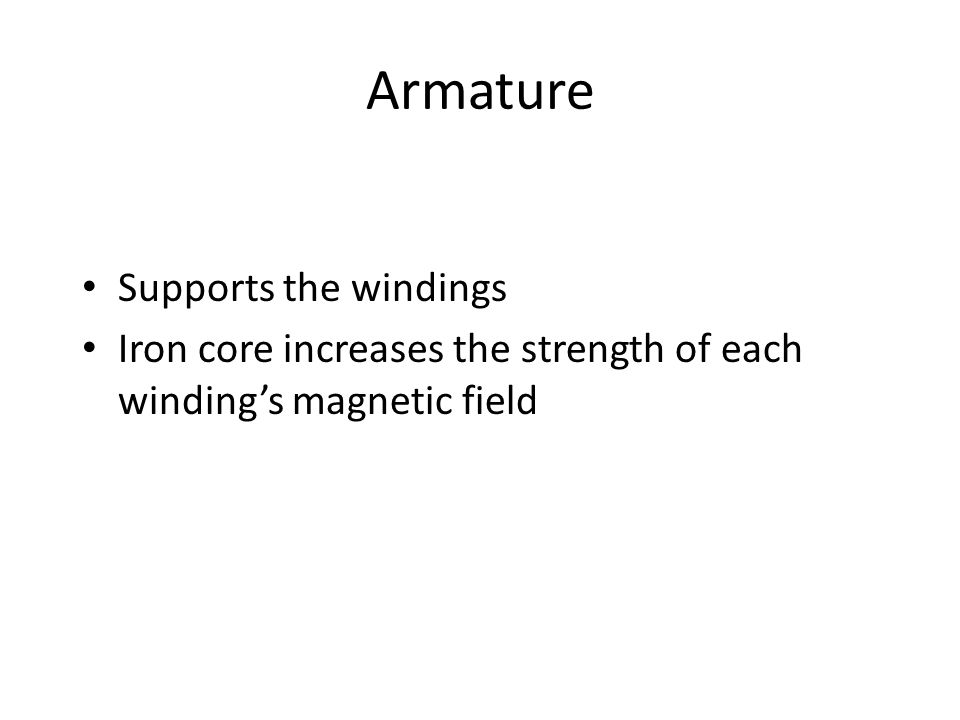 Armature Supports the windings