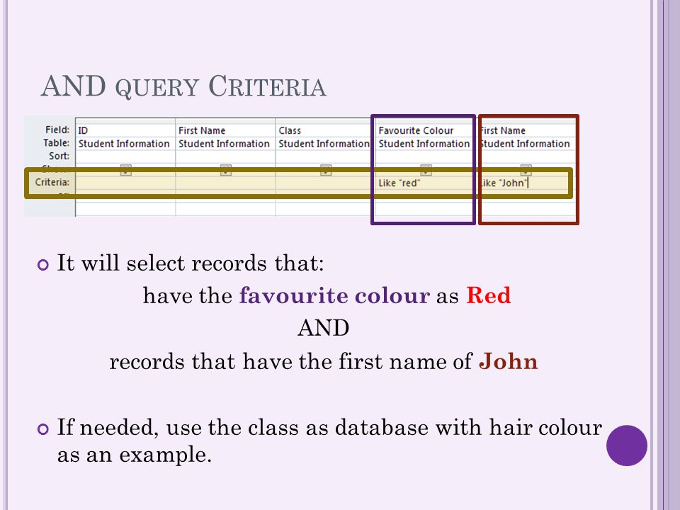 AND query Criteria It will select records that: