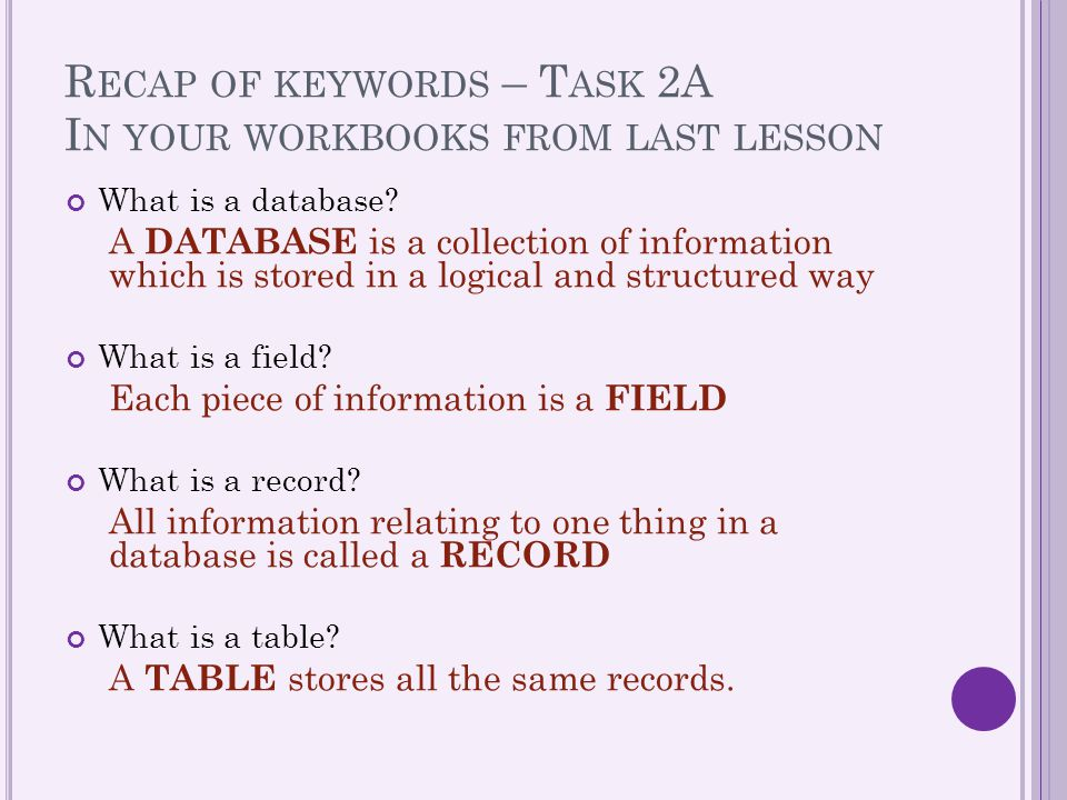 Recap of keywords – Task 2A In your workbooks from last lesson