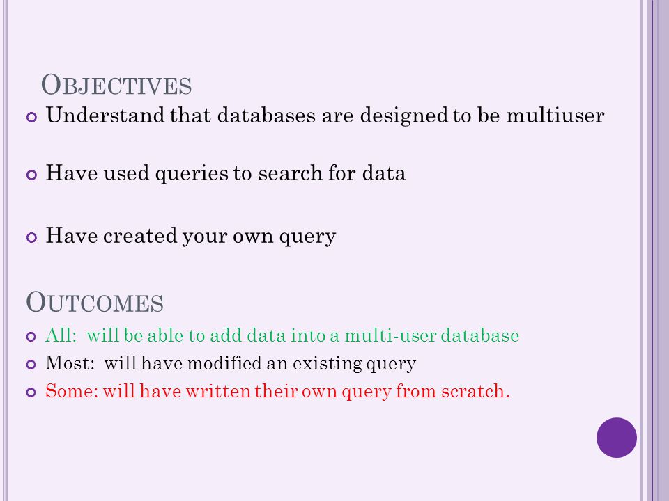 Objectives Understand that databases are designed to be multiuser. Have used queries to search for data.
