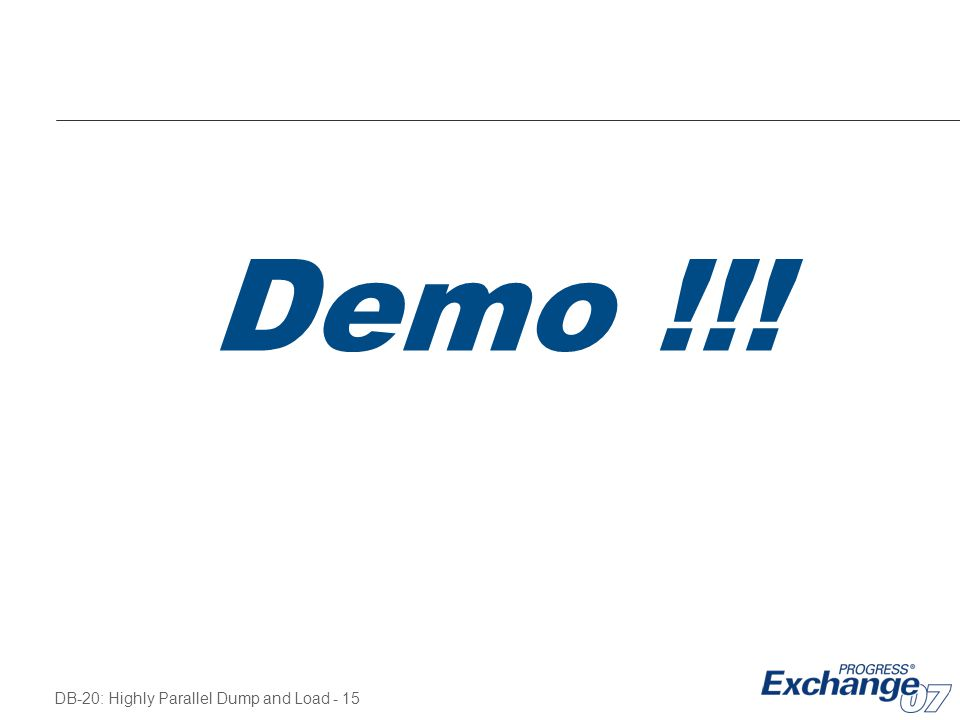 Demo !!! Kick off the dump process…