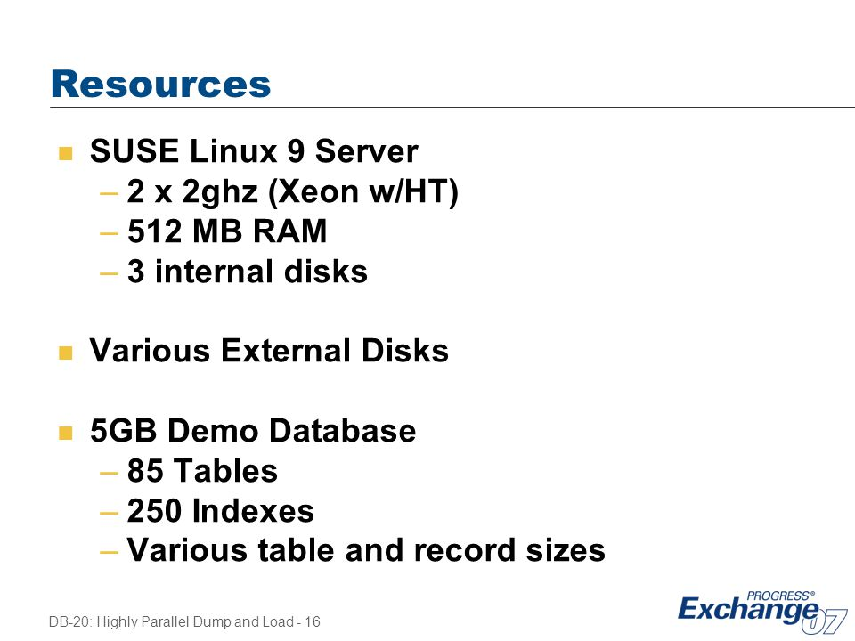 Resources SUSE Linux 9 Server 2 x 2ghz (Xeon w/HT) 512 MB RAM