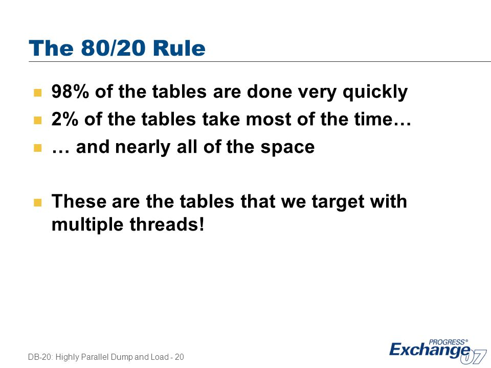 The 80/20 Rule 98% of the tables are done very quickly