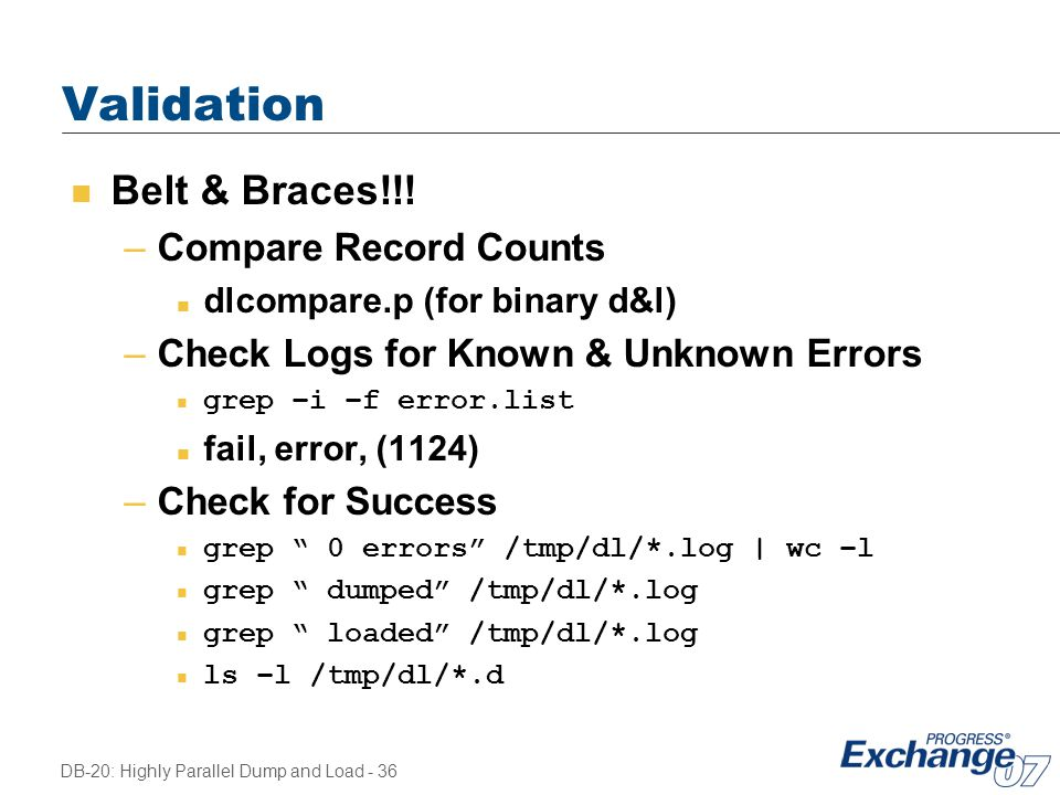 Validation Belt & Braces!!! Compare Record Counts