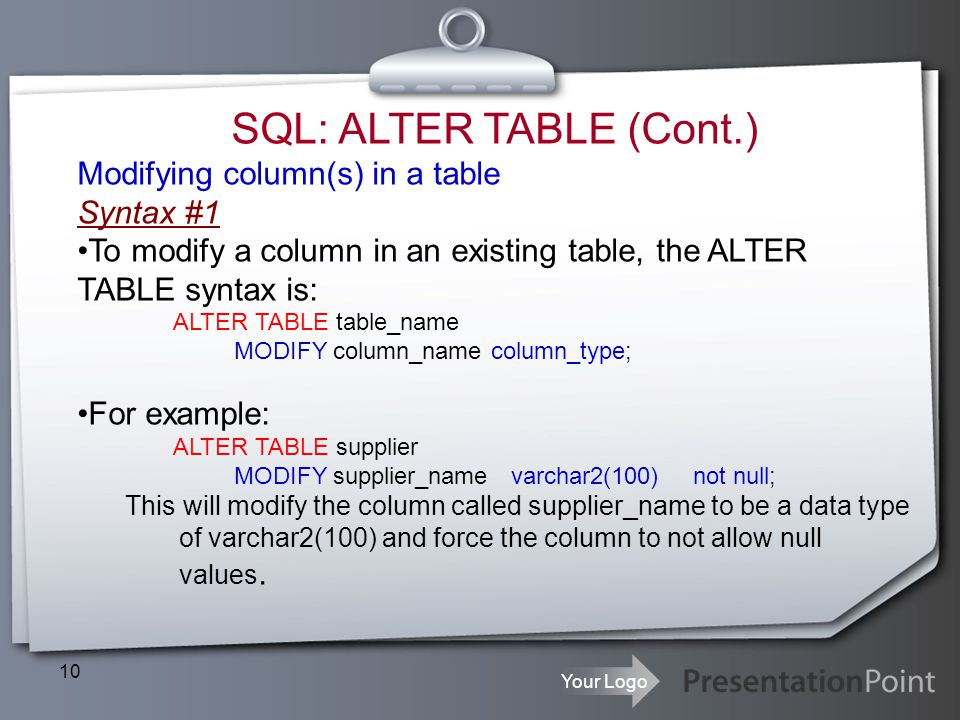 SQL: ALTER TABLE (Cont.)