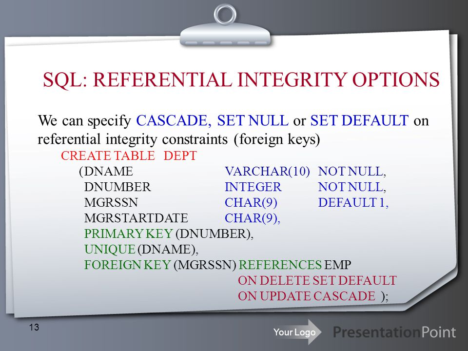 SQL: REFERENTIAL INTEGRITY OPTIONS