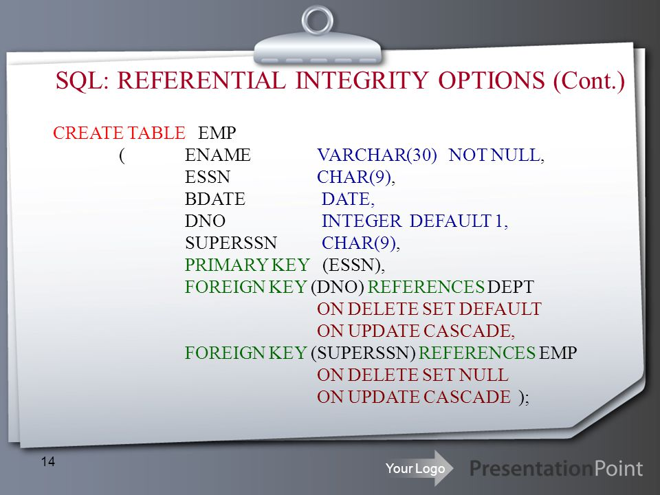 SQL: REFERENTIAL INTEGRITY OPTIONS (Cont.)