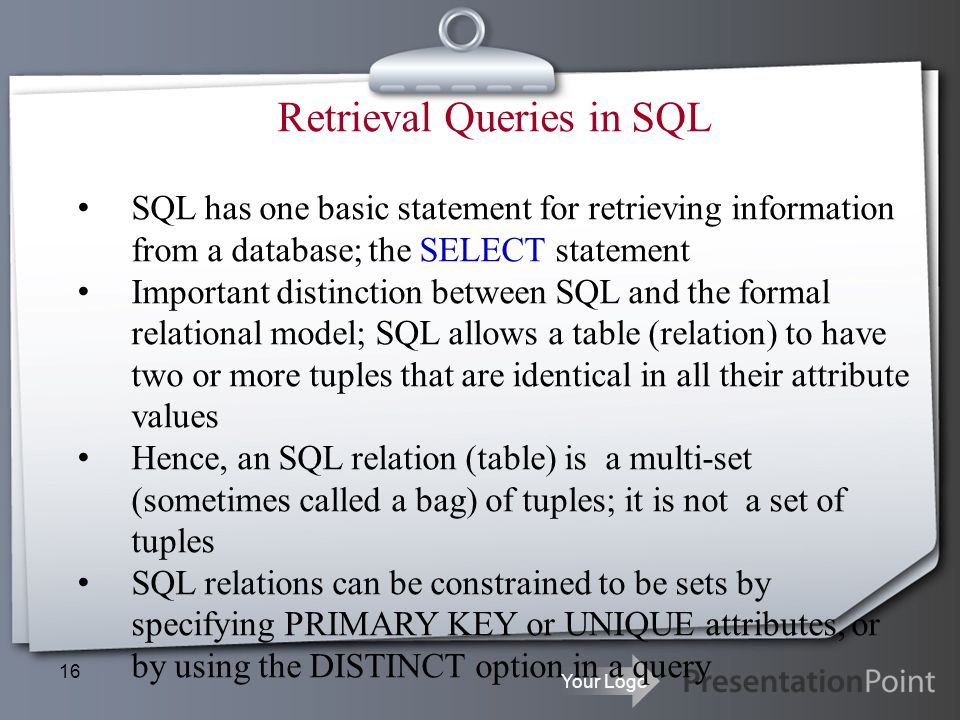 Retrieval Queries in SQL