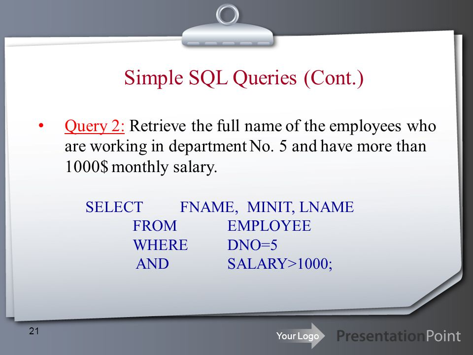Simple SQL Queries (Cont.)