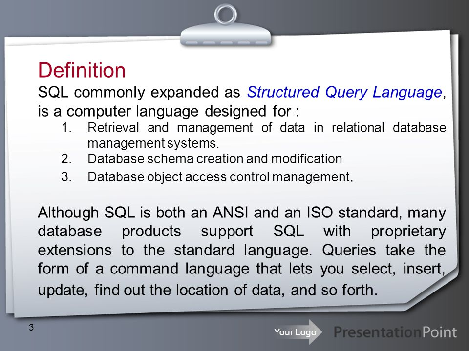 Definition SQL commonly expanded as Structured Query Language, is a computer language designed for :