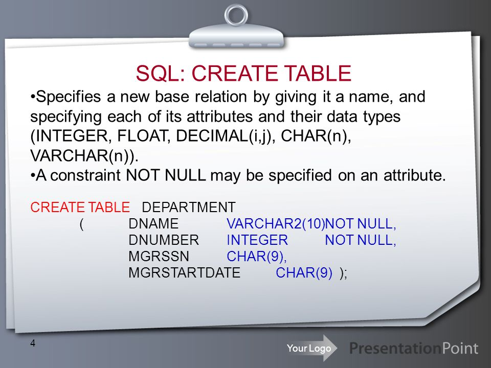 SQL: CREATE TABLE