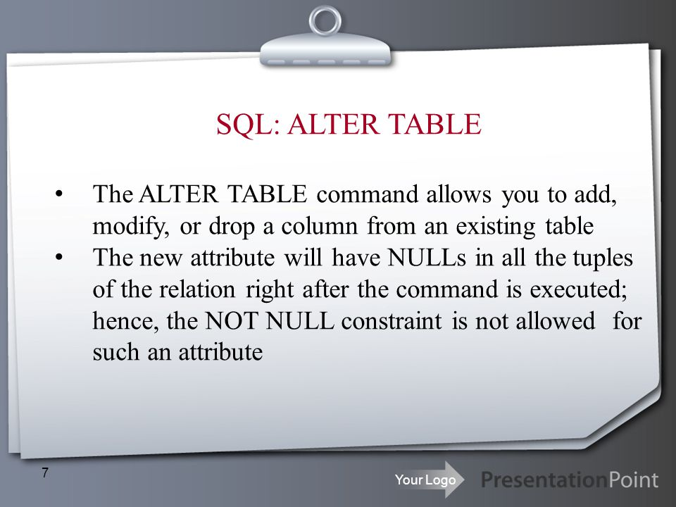 SQL: ALTER TABLE The ALTER TABLE command allows you to add, modify, or drop a column from an existing table.
