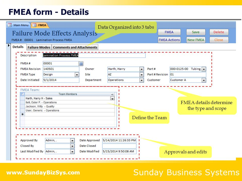 FMEA form - Details Data Organized into 3 tabs FMEA details determine