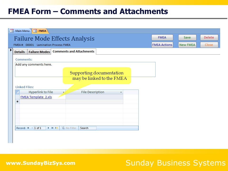FMEA Form – Comments and Attachments