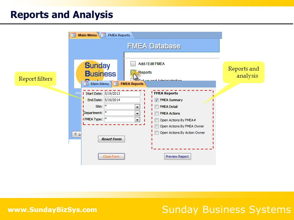 Reports and Analysis Reports and analysis Report filters