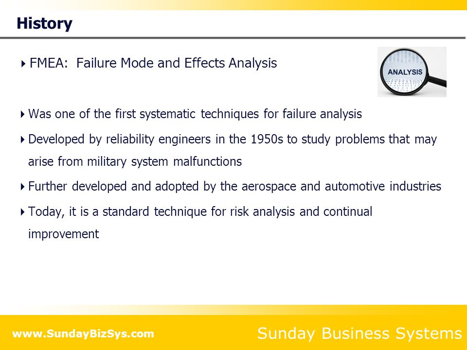 History FMEA: Failure Mode and Effects Analysis