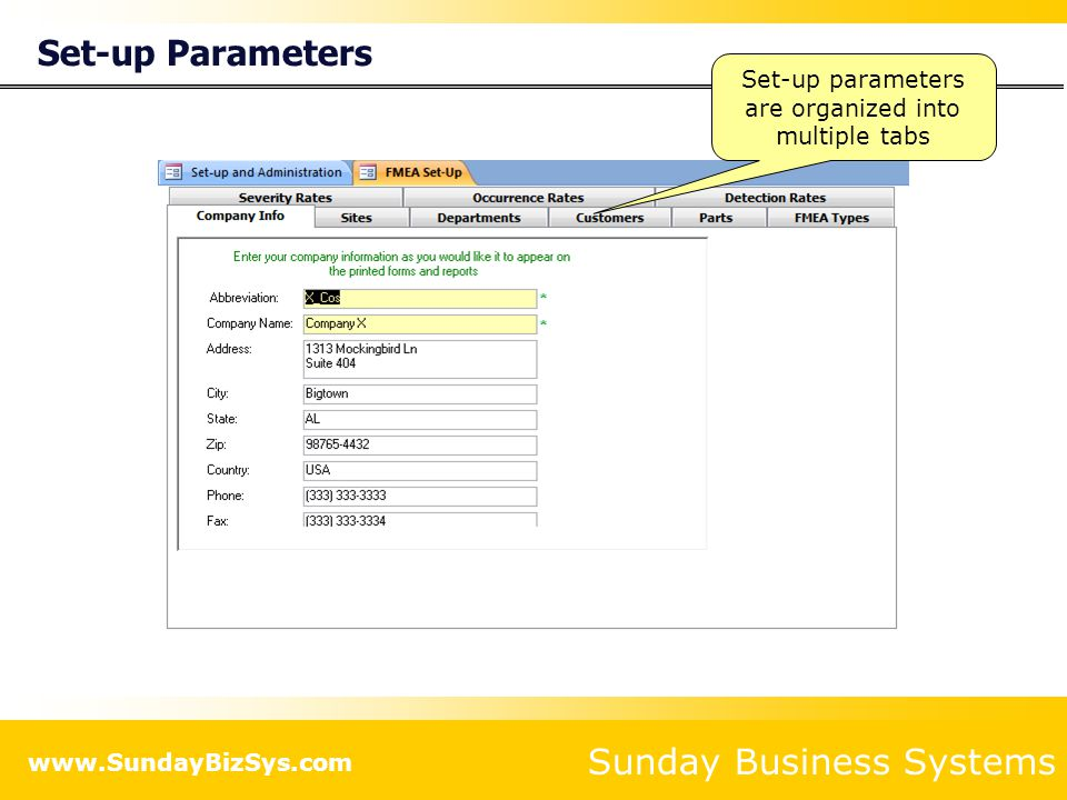 Set-up parameters are organized into multiple tabs