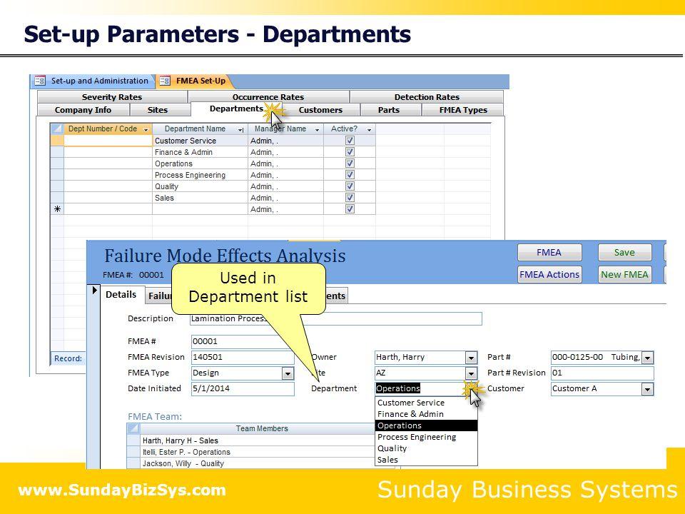Set-up Parameters - Departments