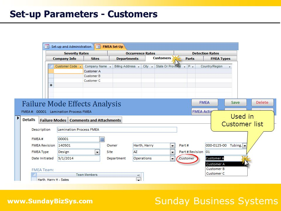 Set-up Parameters - Customers
