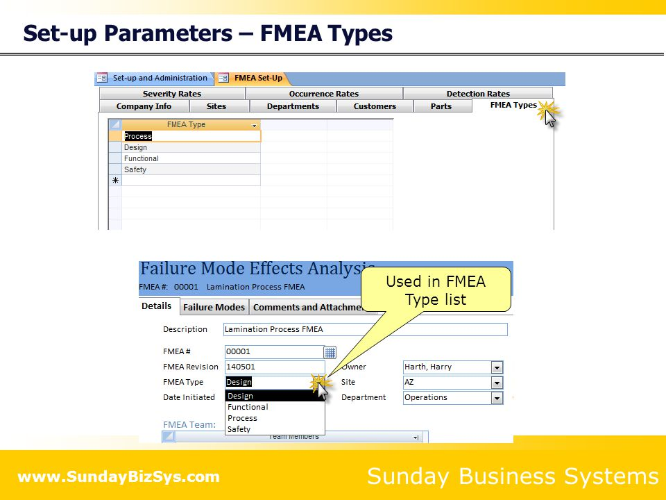 Set-up Parameters – FMEA Types