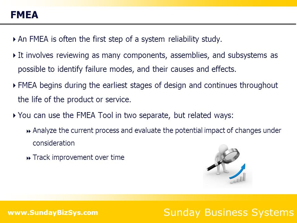 FMEA An FMEA is often the first step of a system reliability study.