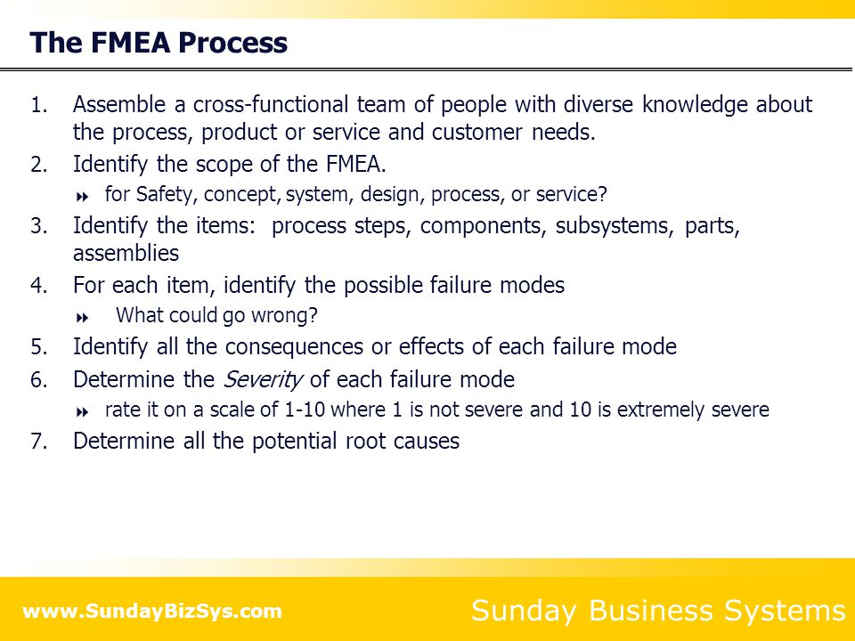 The FMEA Process Assemble a cross-functional team of people with diverse knowledge about the process, product or service and customer needs.
