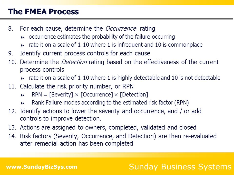 The FMEA Process For each cause, determine the Occurrence rating