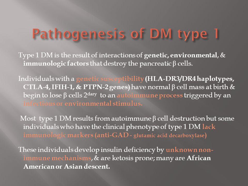 Pathogenesis of DM type 1