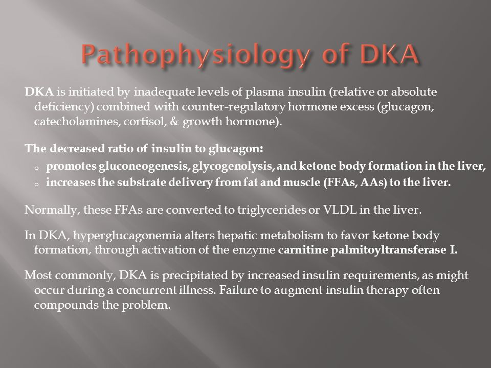 Pathophysiology of DKA