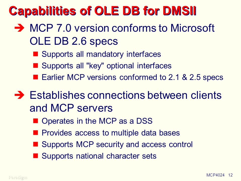 Capabilities of OLE DB for DMSII