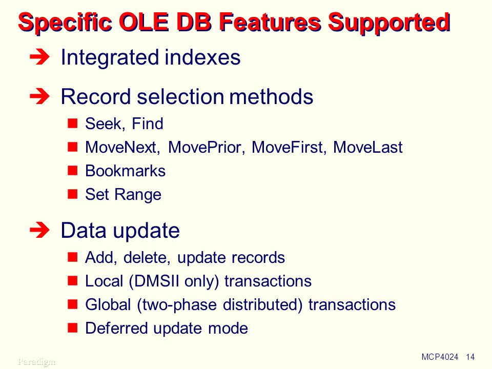 Specific OLE DB Features Supported