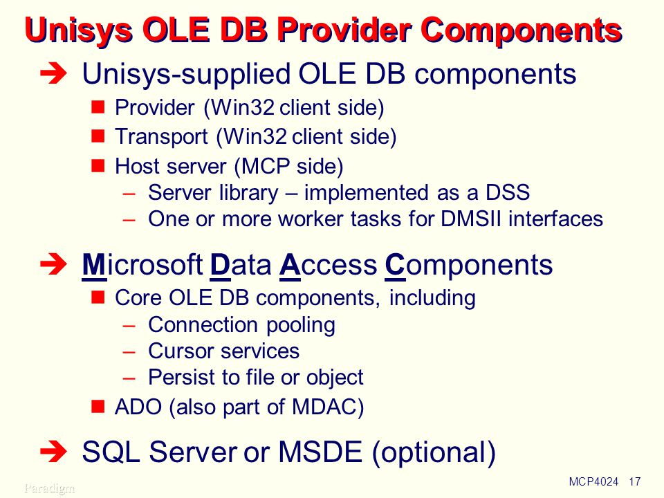 Unisys OLE DB Provider Components