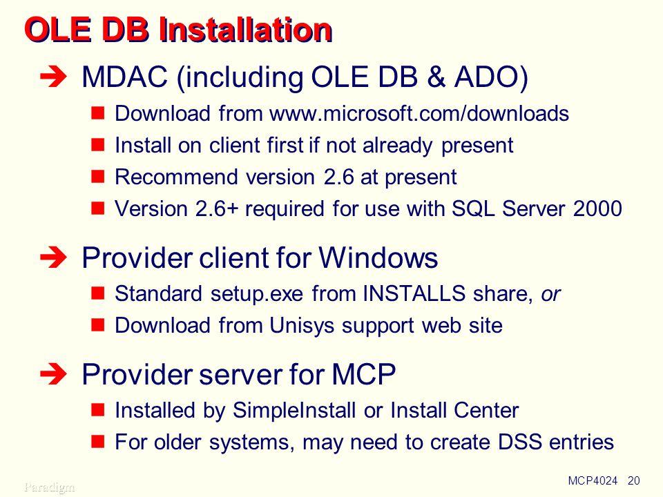OLE DB Installation MDAC (including OLE DB & ADO)