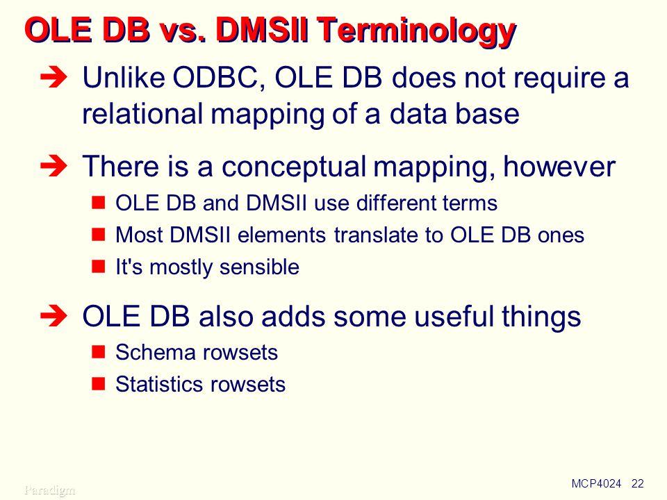 OLE DB vs. DMSII Terminology